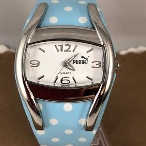 Stylish Puma Watch Blue with White Polka Dots